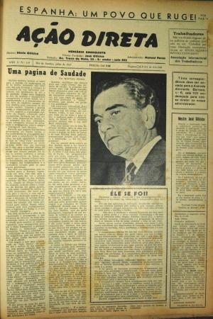 Una página de Saudade.  Editorial sobre la muerte de José Oiticica.