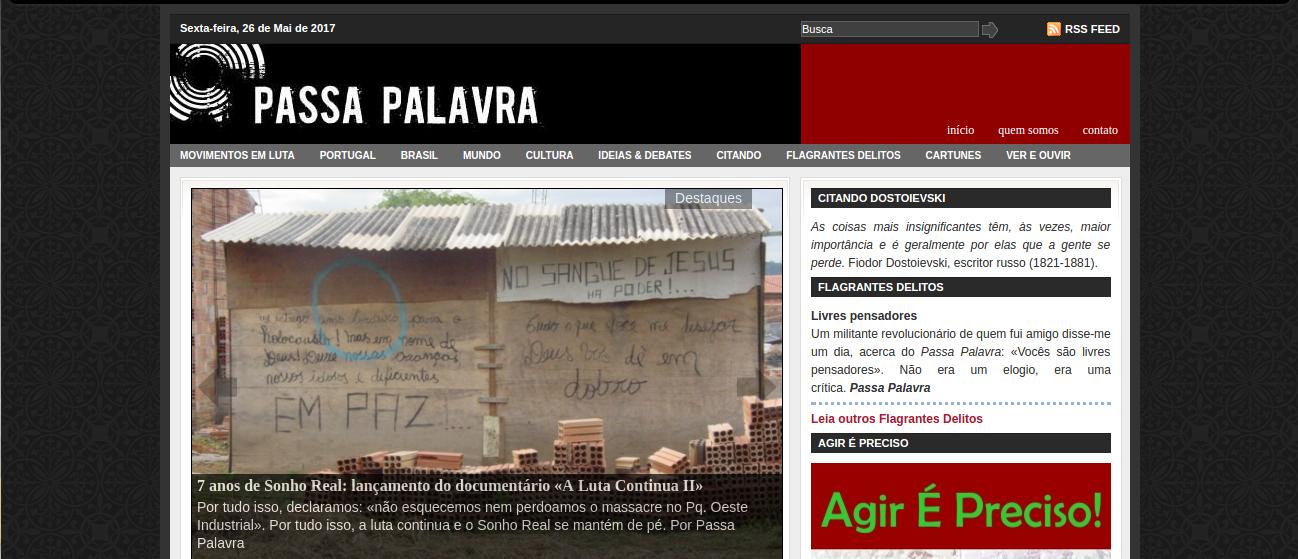 Informes sobre o novo site do Passa Palavra