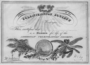 um certificado da American Colonization Society
