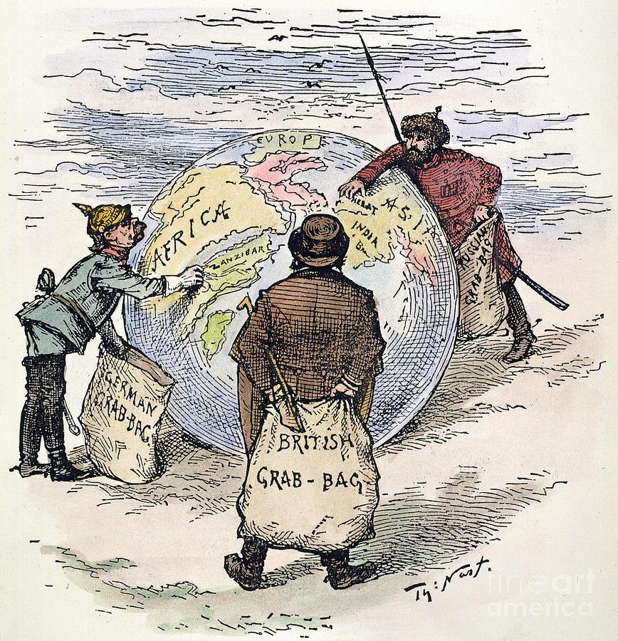 Partilha/saque do mundo entre Alemanha (à esquerda), Grã-Bretanha (ao centro) e Rússia (à direita)