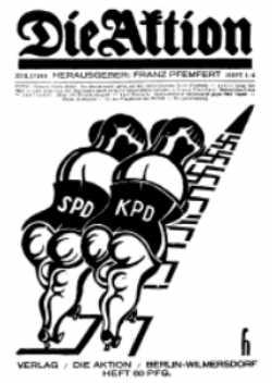 Uma capa de «Die Aktion»: corrida ente o Partido Social-Democrata e o Partido Comunista numa pista de suásticas