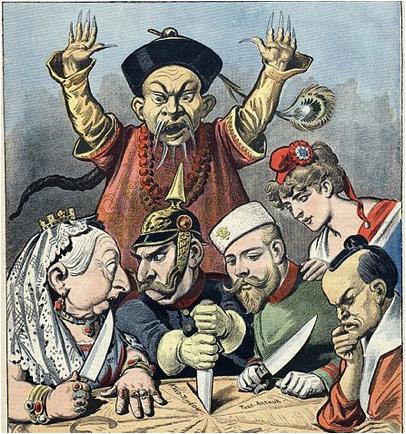 Partilha da China entre Grã-Bretanha, Alemanha, Rússia, França e Japão (da esquerda para a direita)