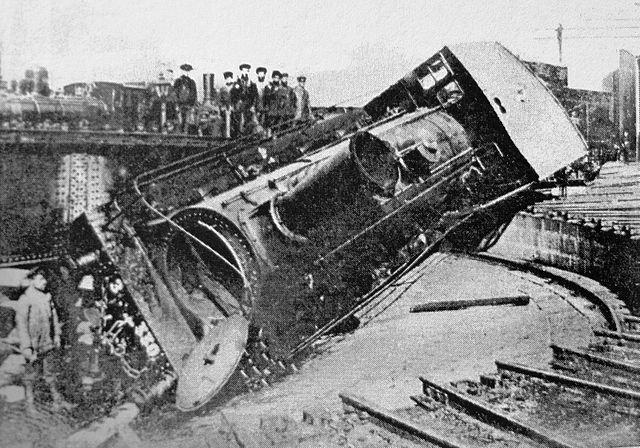 Locomotiva descarrilada por trabalhadores em greve (Tiflis, 1905)