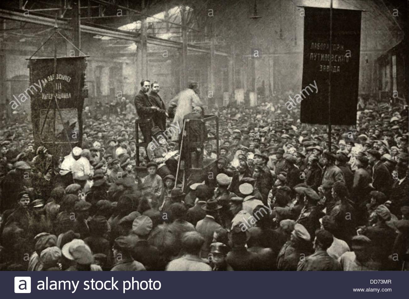 Reunião na fábrica Putilov, em Petrogrado, 1917