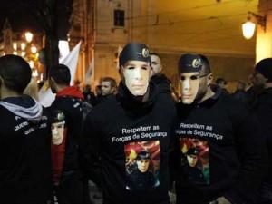 Reportagem sobre a manifestação das forças de segurança, no Largo Camões, Lisboa.