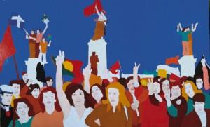Quadro de Nikias Skapinakis, sobre o 25 de Abril (em Portugal e na Grécia)