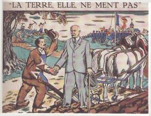 «A Terra Não Mente». Um camponês cumprimenta o marechal Pétain