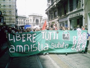 Itália, Julho/08 - Manifestação pela liberdade de Marina Petrella